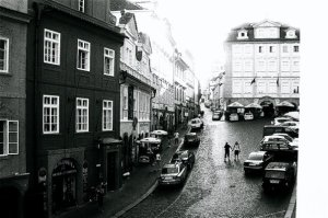 Couple holding hands in Prague